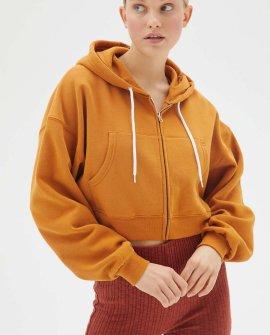 BDG Leah Cropped Zip-Front Hoodie Sweatshirt