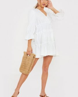 Billie Faiers White Tiered Wrap Puff Sleeve Mini Dress