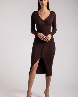 BRYNN Long Sleeve Button Down Midi Dress - Chocolate