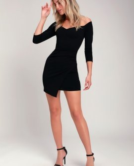 Baby Be Mine Black Off-the-Shoulder Bodycon Dress