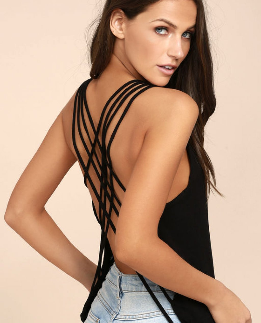 Back At It Black Backless Tank Top