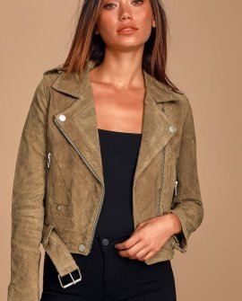 Back in Action Tan Genuine Suede Leather Cropped Moto Jacket