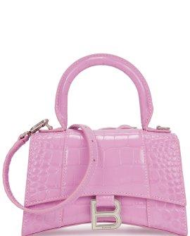 Balenciaga Hourglass XS lilac crocodile-effect top handle bag