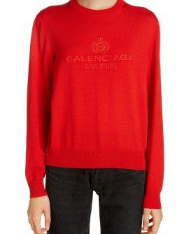 Balenciaga Logo Embroidered Wool Sweater