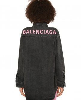 Balenciaga Logo Oversized Light Cotton Denim Shirt