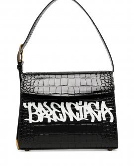 Balenciaga logo-print croc-effect shoulder bag