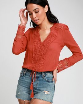 Bali Daydream Rust Orange Lace Long Sleeve Top