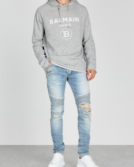 Balmain Grey logo hooded cotton sweatshirt