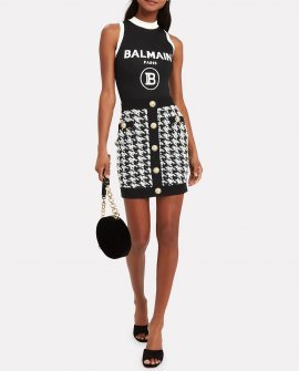 Balmain Sleeveless Jersey Logo Bodysuit