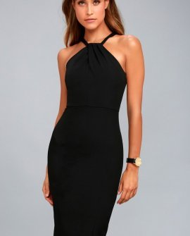 Be My Baby Black Bodycon Midi Dress