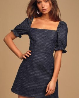 Be You-tiful Medium Wash Denim Polka Dot Puff Sleeve Dress