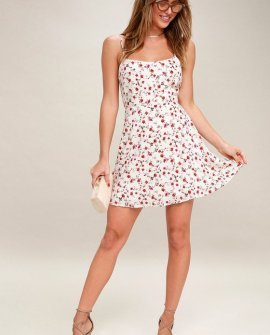 Be a Doll Cream Floral Print Mini Dress