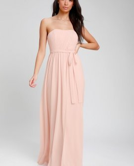 Be in Love Blush Pink Strapless Maxi Dress