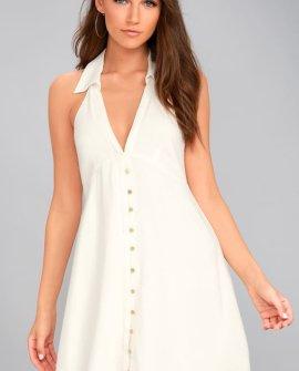 Beach Boogie White Sleeveless Dress