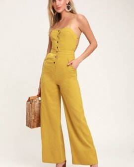 Beach Day Mustard Yellow Backless Jumpsuit