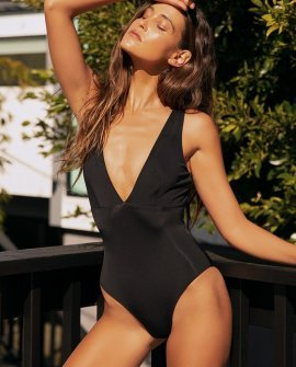 Beach Waves Black One-Piece Swimsuit