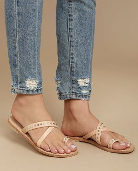 Becky Tan Leather Flat Sandals