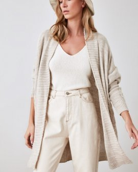 Beige Chunky Open Long Cardigan