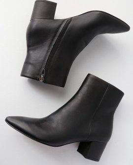 Bel Black Leather Pointed Toe Ankle Booties