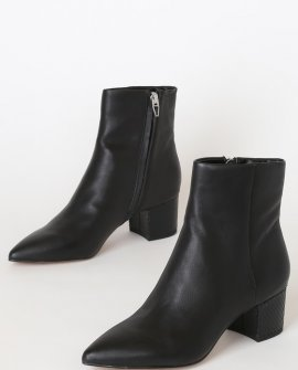 Bel Onyx Leather Pointed-Toe Ankle Booties