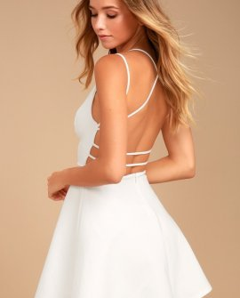 Believe in Love White Backless Skater Dress