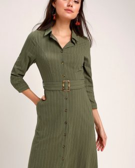 Believe in Yourself Olive Green Striped Midi Shirt Dress