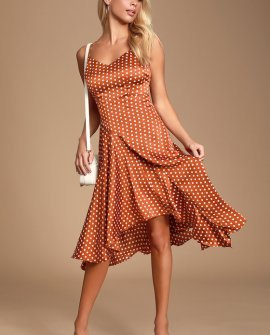 Bellamy Rust Brown Polka Dot Backless Handkerchief Dress
