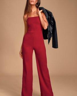 Bellezza Burgundy Sleeveless Wide-Leg Jumpsuit