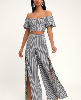 Bellport Blue and White Striped Wide-Leg Two-Piece Jumpsuit