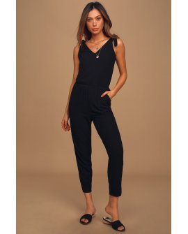 Belmore Black Ribbed Sleeveless Jumpsuit