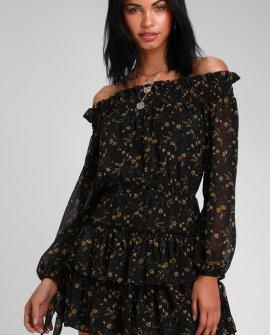 Benson Black Floral Print Off-the-Shoulder Ruffled Skater Dress