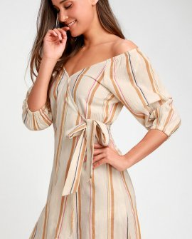 Best Dressed Beige Striped Off-the-Shoulder Wrap Dress
