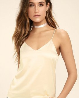 Best Night Ever Cream Satin Top