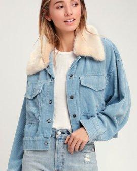 Best Shot Light Blue Corduroy Faux Fur Trim Jacket