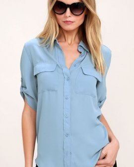Best of Friends Slate Blue Button-Up Top