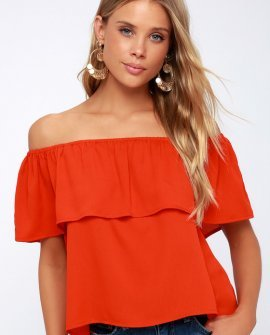 Bethenny Coral Red Off-the-Shoulder Top