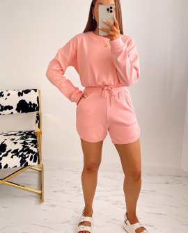 Beverley Cropped Jumper and Shorts Co Ord in Pink