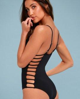 Big Island Black Strappy One Piece Swimsuit