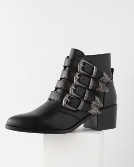 Billey Black Leather Belted Ankle Booties