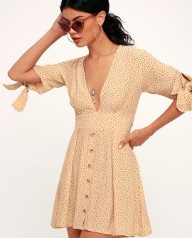 Birgit Beige Polka Dot Mini Dress