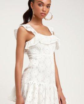 Biscay White Ruffled Eyelet Lace Sleeveless Dress