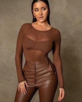 Blaire Mesh Long Sleeve Bodysuit