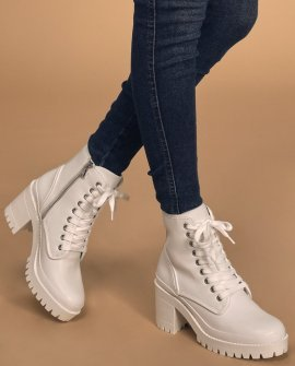 Bloomed White Leather Lace-Up Platform High Heel Boots