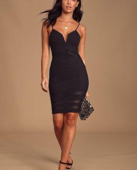 Blow a Kiss Black Ribbed Mesh Cutout Bodycon Midi Dress