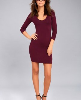 Body Language Burgundy Long Sleeve Bodycon Dress