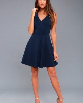 Bon Appetit Navy Blue Skater Dress