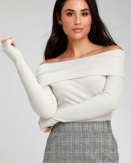 Bonita Cream Ribbed Off-the-Shoulder Long Sleeve Top