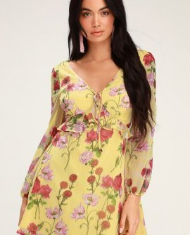 Botanical Bae Yellow Floral Print Long Sleeve Dress