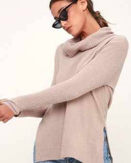 Brant Light Grey Cowl Neck Knit Sweater
