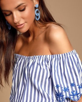 Braxtyn Blue Striped Off-the-Shoulder Crop Top